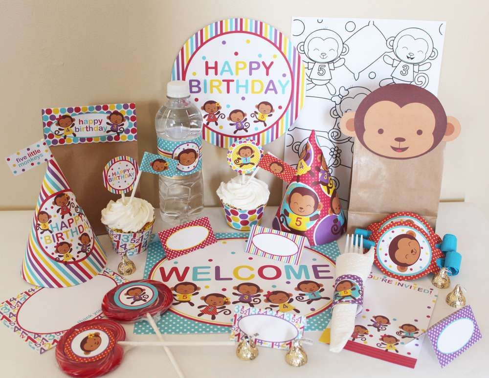 Five Little Monkeys Jumping in the Bed Birthday Party Ideas Monkey