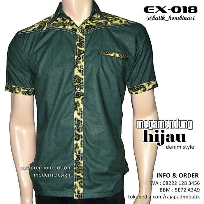 BATIK KOMBINASI Hijau Megamendung EX018 Batik Seragam Pria