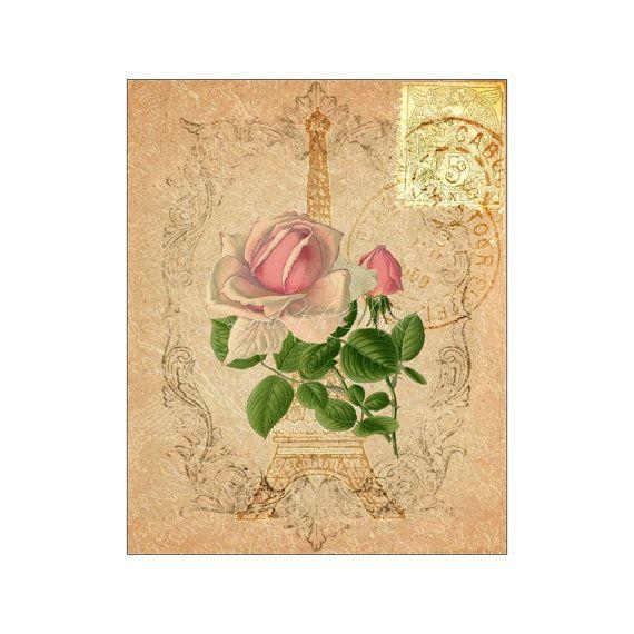 Old Eiffel Paper IV - Rose with Eiffel Tower Paris - Floral Art ...