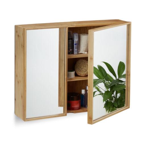Bad Spiegelschrank Zweiturig Breiter Hangeschrank Bambus