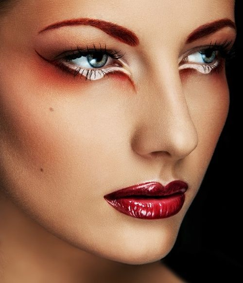 Dramatic Eye Makeup With Glossy Red Lips Special Effect Makeups