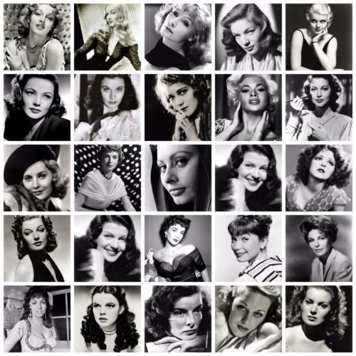 Black and white films star actresses movie star retro a4 posters prints art deco