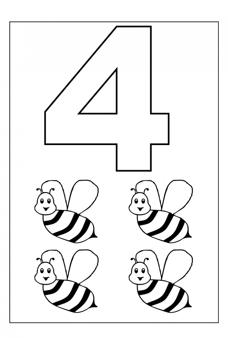 photo about Printable Number 4 named 4 Calendar year Outdated Worksheets Printable Bookworms Preschool