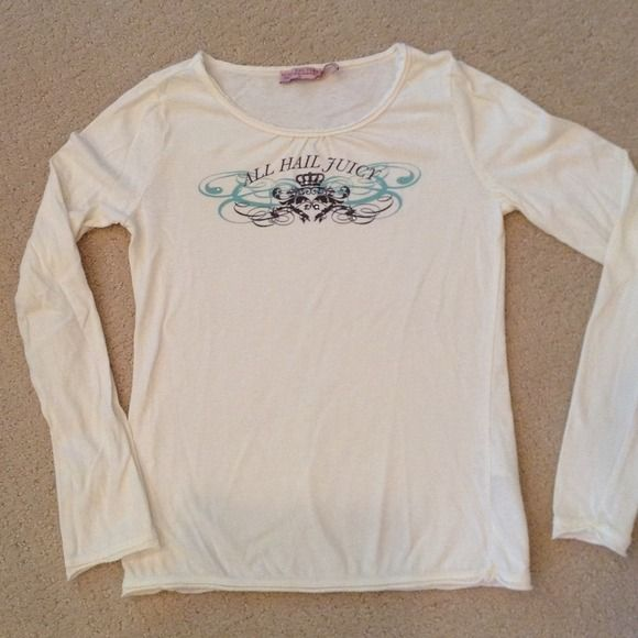 Girls Juicy Couture Shirt Like new girls Juicy shirt in ivory with brown/blue design. Washed only in cold water and hung to dry. Juicy Couture Shirts & Tops Tees - Long Sleeve