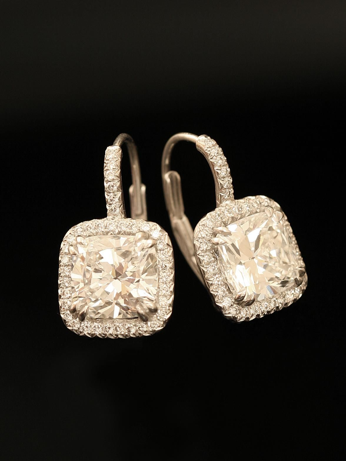 Norman Silverman Platinum Diamond Drop Earrings With Two Cushion Cut  Diamonds Weighing Approximately 421ct Total