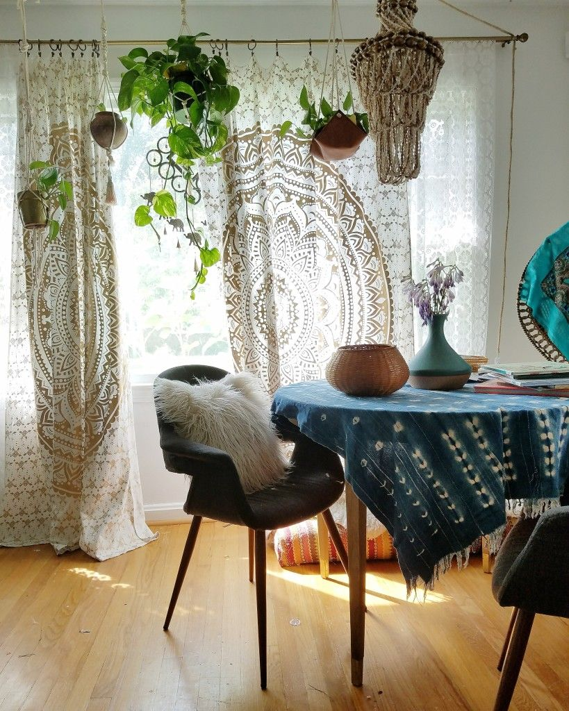 My Budget Boho Window Curtains  Bohemian window treatments ...