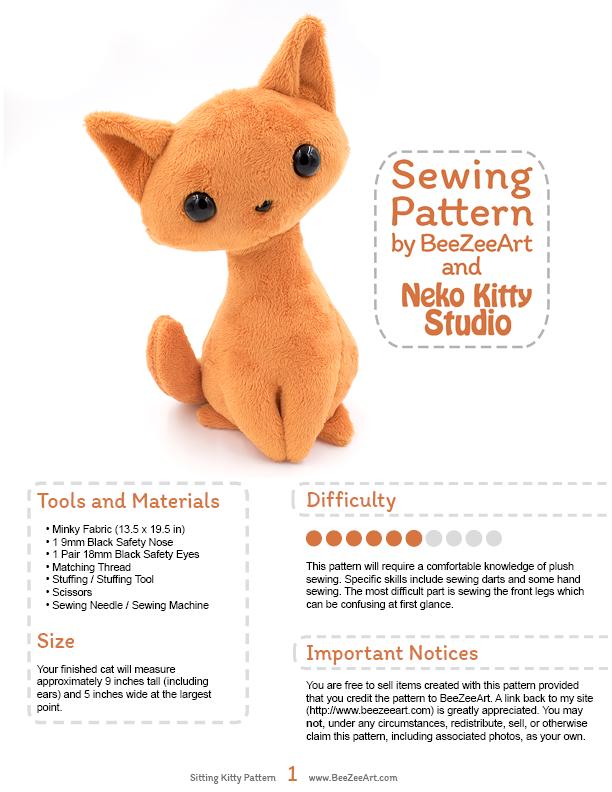 Sitting Kitty Cat Stuffed Animal Sewing Pattern, PDF Plush Pattern ...
