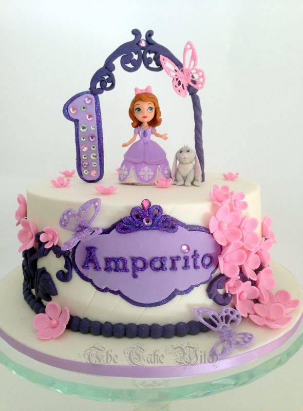Astonishing Sofia The First Birthday Cake In Pink Purple And Lilac Flowers Personalised Birthday Cards Paralily Jamesorg