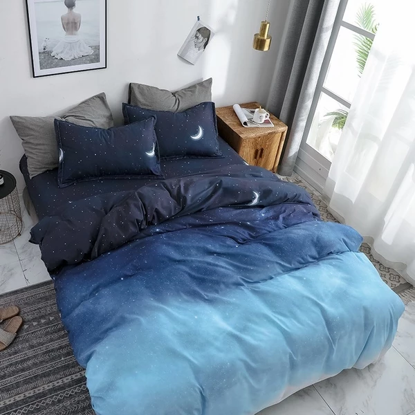 Starry Night Sky Bedding Sets Moon And Star Pattern Gradient Color