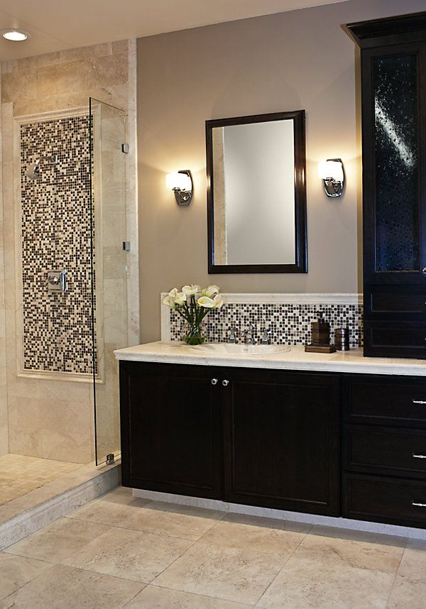 Accent tile framed with chair rail in shower and vanity | Bathroom ...