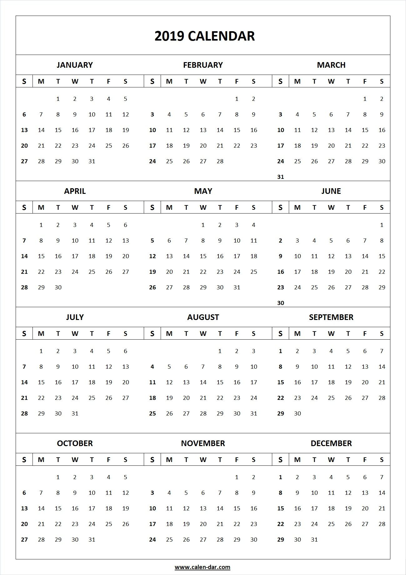 Year 2019 Printable Calendar Template Blank Download Printable