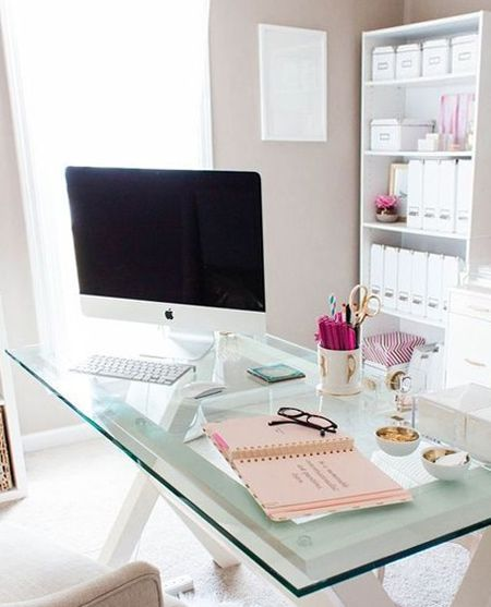 Beautiful home office ideas glass topped desk ideal for small space homeofficeideas also rh pinterest