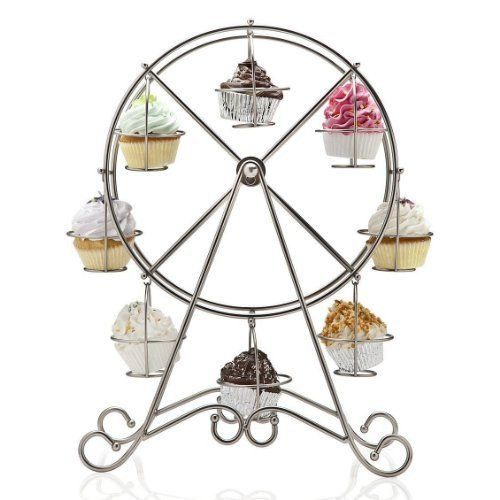Francois et Mimi DCP0008 8-Cup Metal Rotating Ferris Wheel Cupcake and Dessert Stand Holder, Chrome Finish by Luzy's Storage Place Inc., http://www.amazon.com/dp/B00GCETRWU/ref=cm_sw_r_pi_dp_gaJGsb0SP9M07