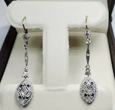 ANTIQUE ART DECO 18K GOLD & PLATINUM DIAMOND & SAPPHIRE EARRINGS