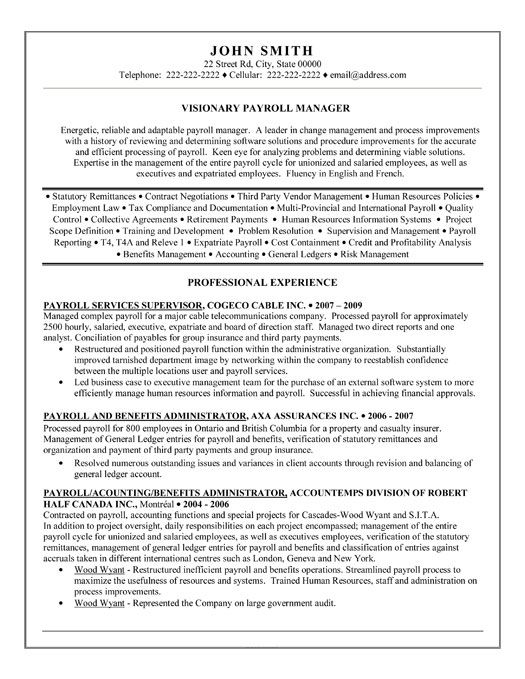 human resources director payroll resume sample