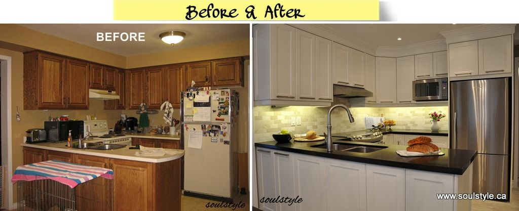 Small kitchen renovations before and after or maybe for Kitchen cupboard renovation ideas
