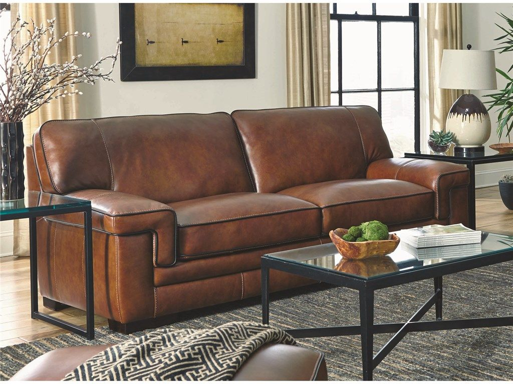 Simon Li Living Room Chestnut Leather Sofa 044358 Furniture Fair Cincinnati