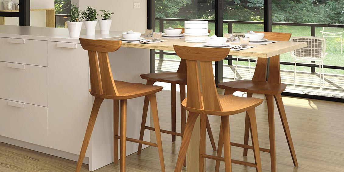 American Made Solid Wood Bar Stools In Cherry Maple Walnut