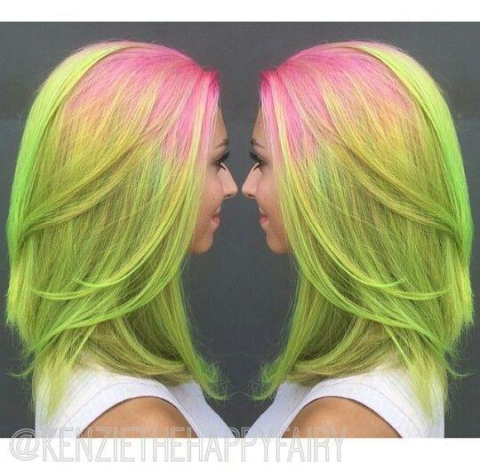 Pink Neon Green Hair Bunte Haare Haarfarben Haar Styling