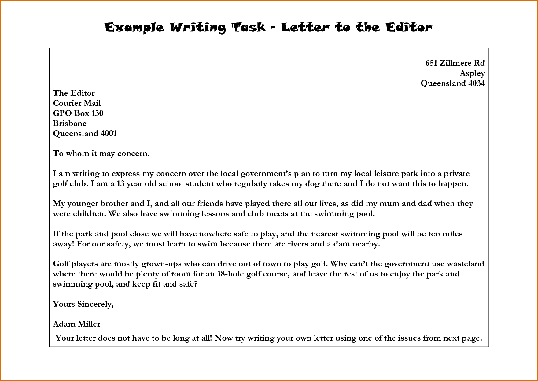 Letter To The Editor Example | Search Results | Write Letter