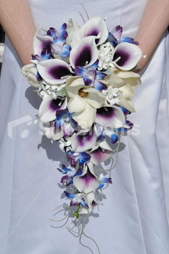 Purple Vermeer Lily & Galaxy Blue Orchid Petite Bridal Bouquet in ...