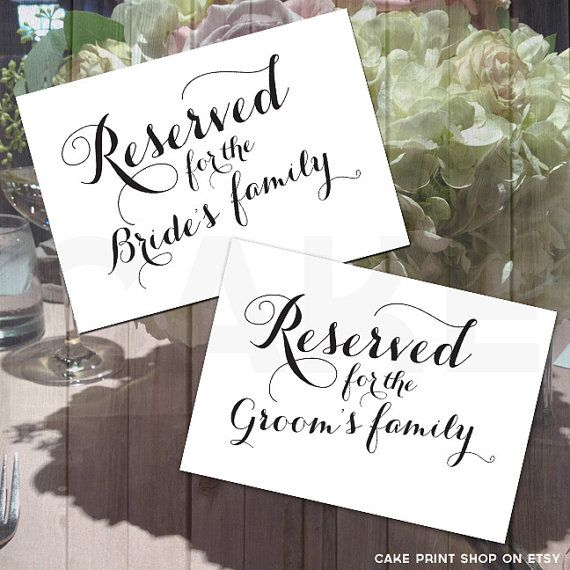Printable Reserved Sign, Calligraphy wedding signs, Bride and ...