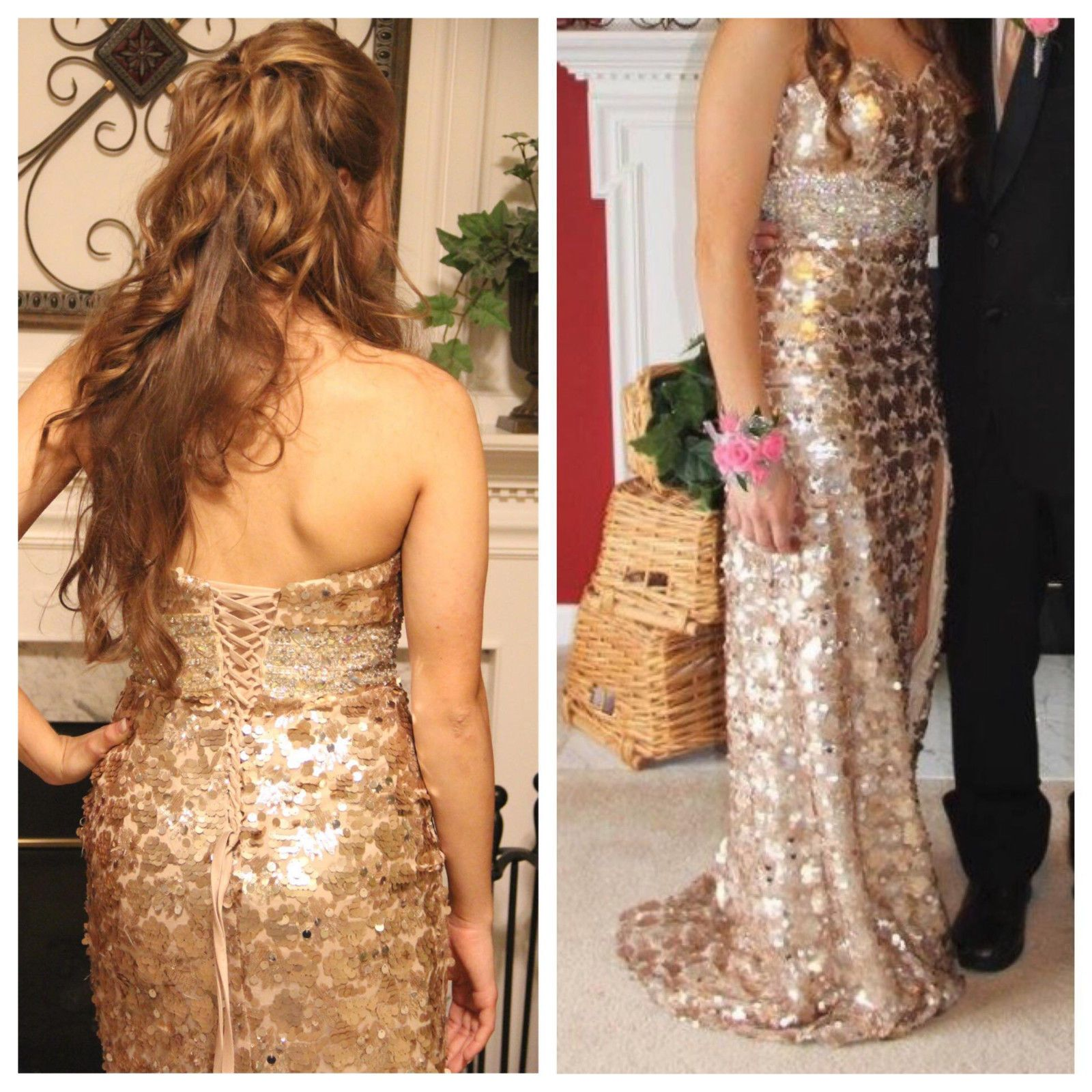 Nice great night moves style light gold prom dress with corset