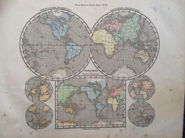 1861 original antique hand coloured engraved world map hemispheres 1861 original antique hand coloured engraved world map hemispheres evon sydow german atlas wall decor world map home decor gumiabroncs Gallery