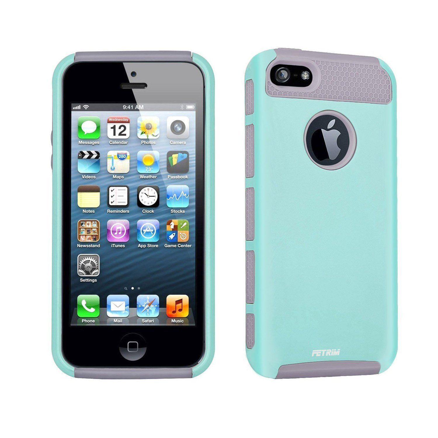 Amazon.com: iPhone 5C Case,Fetrim Slim Fit Heavy Duty Protection Case Dual Layer Hybrid Bumper Impact Protection Shockproof Hard Ultra Protective Rubber Cover for Apple iPhone 5C (Blue Gray): Cell Phones & Accessories