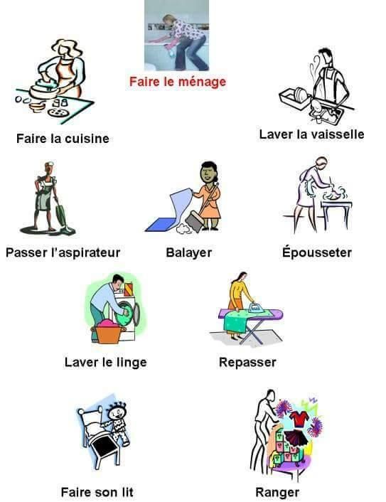 faire le menage french language course french language learning french classroom learn french
