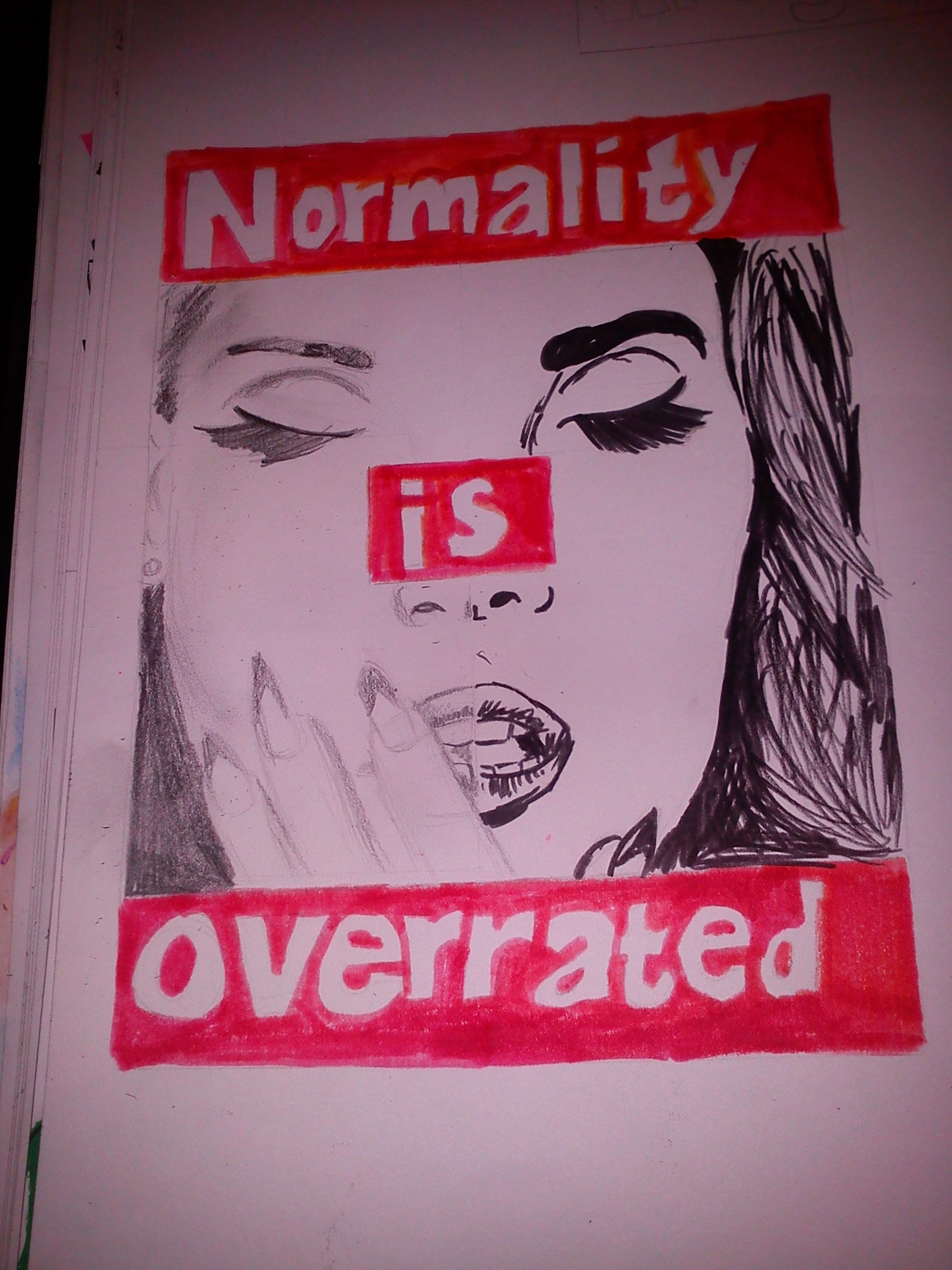 Another part of my GCSE art coursework- Barbra Kruger inspired <3