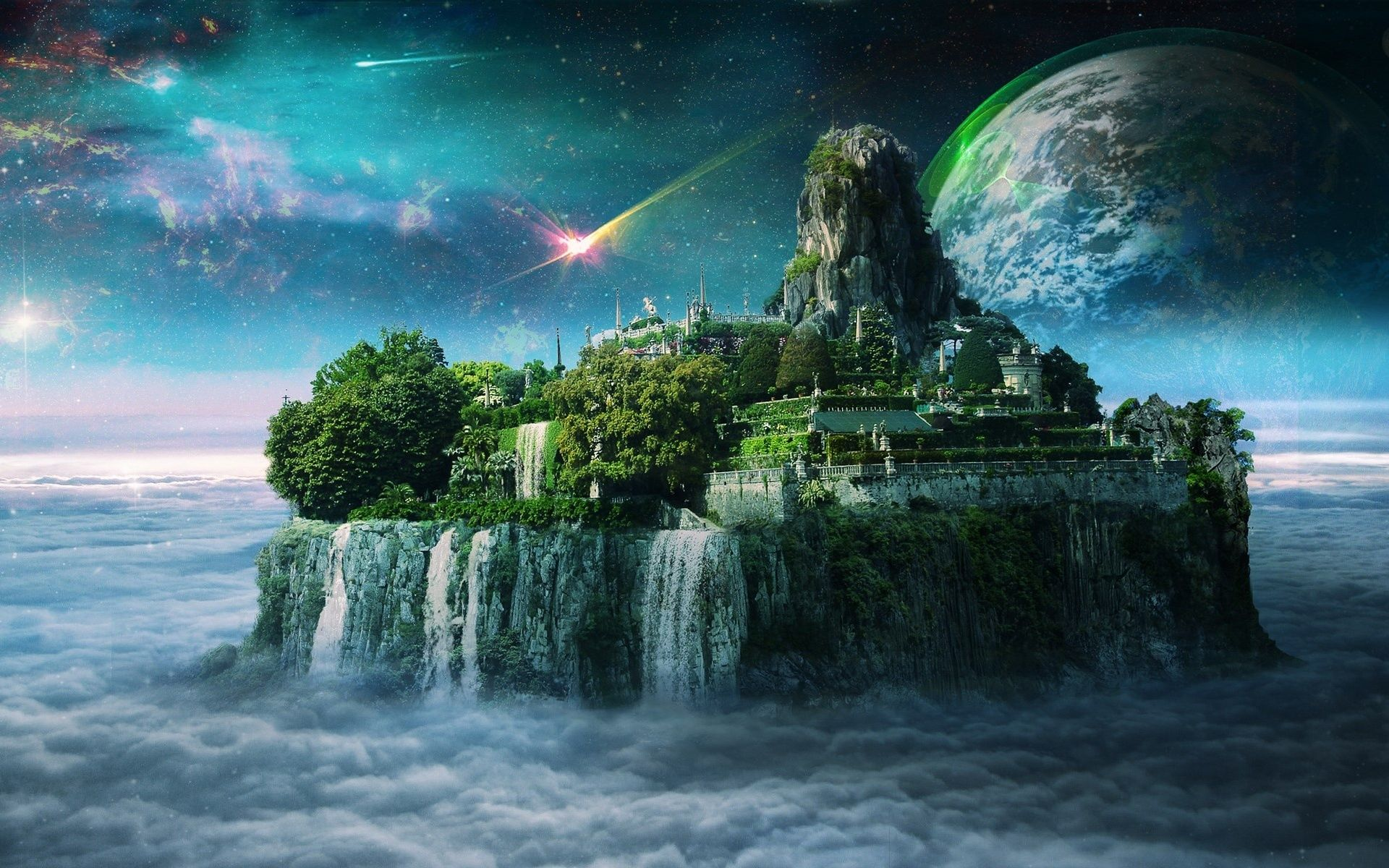 paintings planets and cities - photo #40