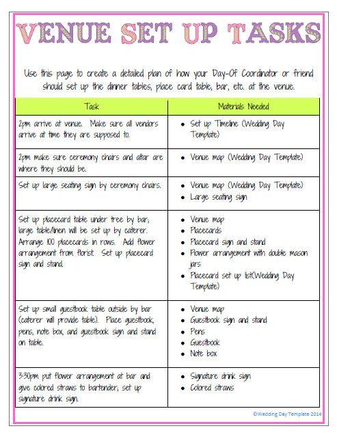 PrintableEditable Wedding Day Template Detailed Version PURPLE