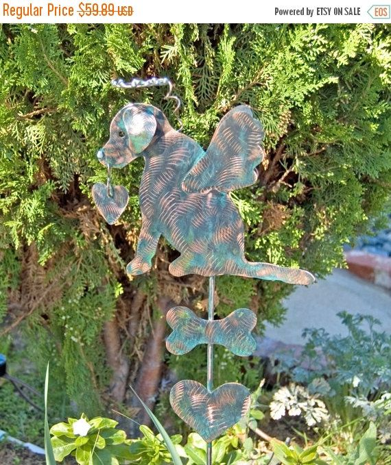 Labrador Retriever Angel Dog Garden Stake / Metal Yard Art / Pet Memorial /  Garden Copper