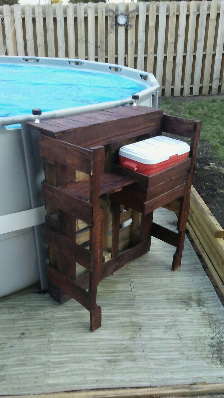 Pallet bar with cooler/ above ground pool bar | Projects By Kamm ...