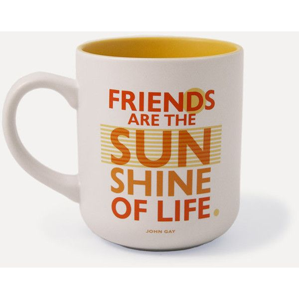 Urban Graphics Sunshine Friends Mug ($68) ❤ liked on Polyvore featuring home, kitchen & dining, drinkware and stoneware mugs