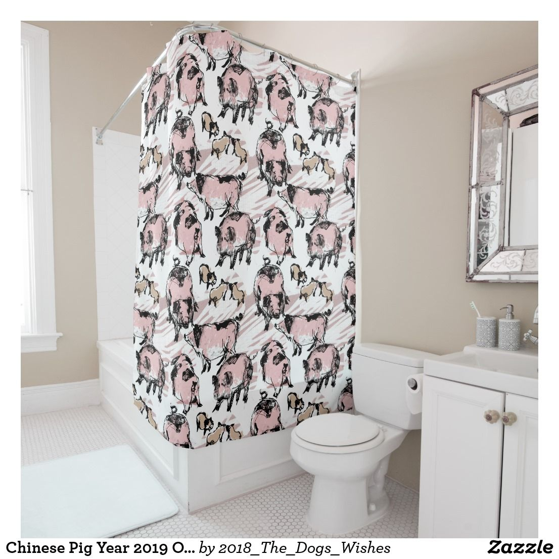 Chinese Pig Year 2019 Original Drawing Shower C Shower Curtain