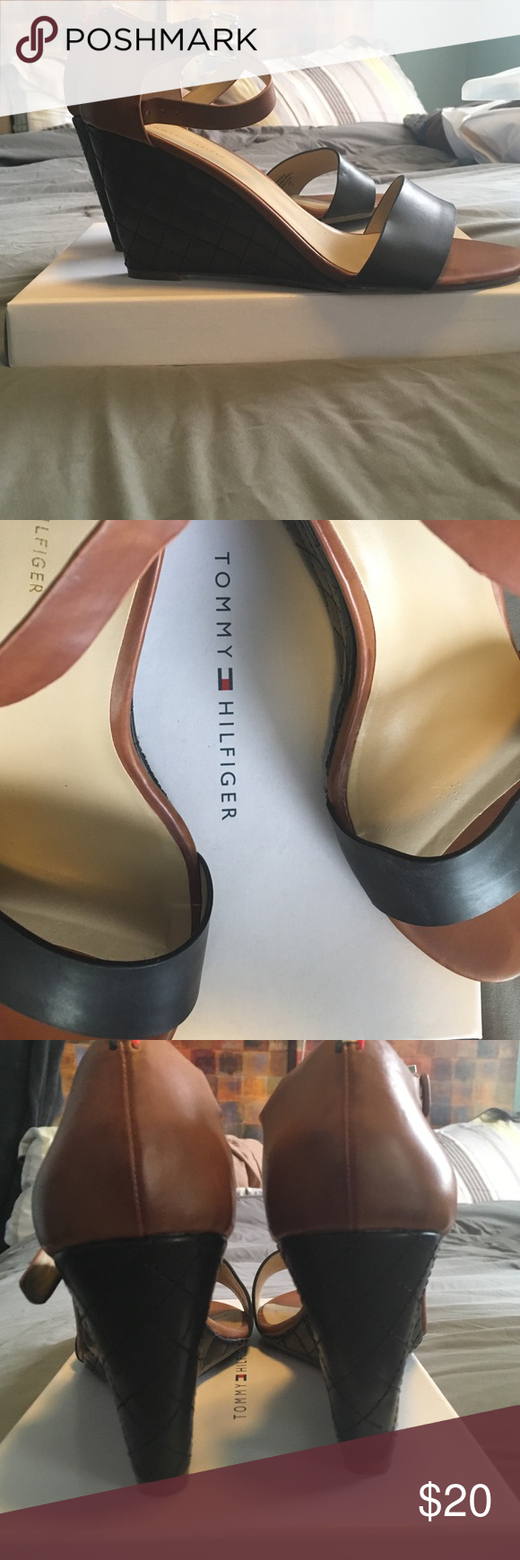 Tommy Hilfiger Wedge Sandal Gently used almost new wedge Sandler! Super comfortable with 3 1/2 inch heel. Comes with box upon request. Ships Daily. Shoes Wedges