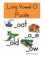 Long Vowel O Puzzle Word List: Boat, Bone, Coat, Cold, Crow, Globe, Goat, Gold, Hole, Home, Nose, Phone, Rope, Rose, Smoke, Snow, Stove, Vote, Troll Information: Long Vowel O Puzzle. Match the picture with the long vowel O word. (Print, Cut, Play!)