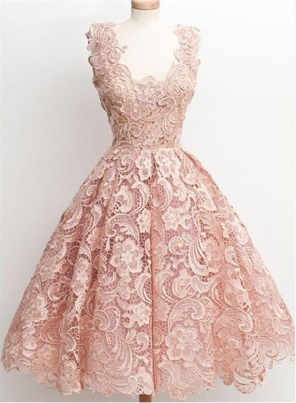 Ball Gown Sleeveless Short Peach Lace Party Prom Dress | Peach prom ...