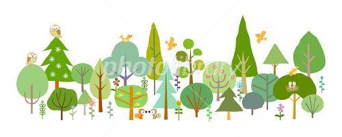森 動物 春 木 緑 イラスト 木 イラスト かわいい 森 イラスト
