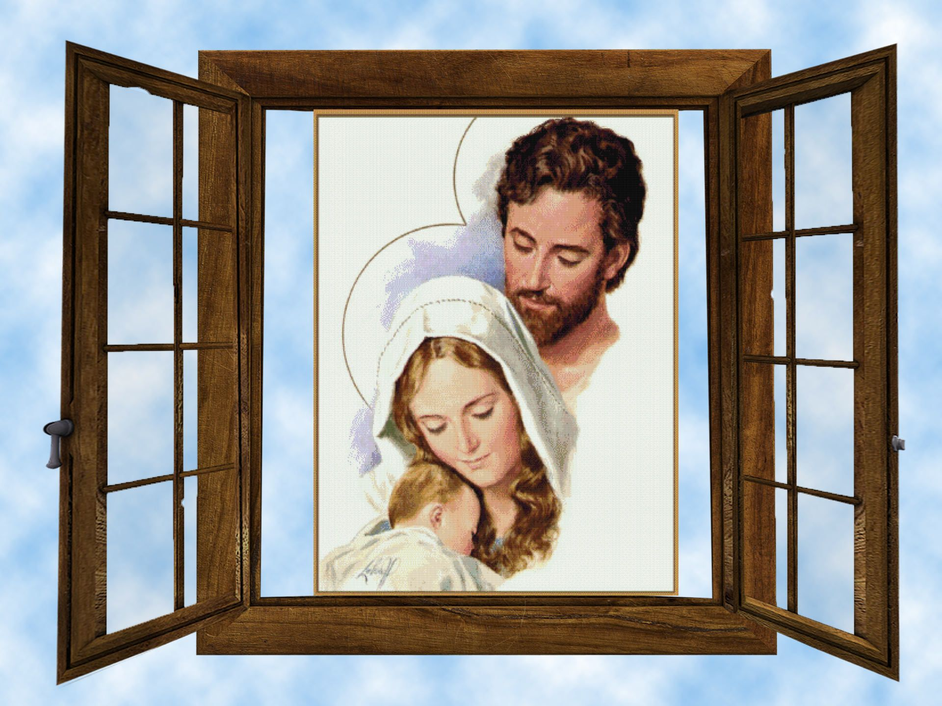 Holy Family Licencja Cc0 Cross Stitch Pattern Counted Cross