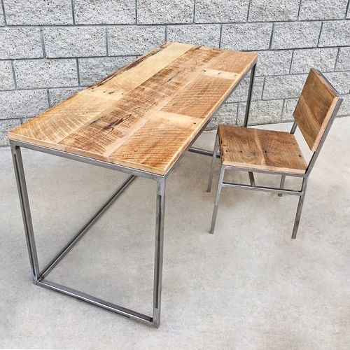 Reclaimed Barn Wood And Steel Desk And Chair
