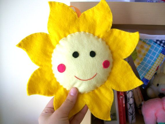 Felt sun softie for nursery decoration - Easter decoration / ornament - Yellow color - Made to ORDER. €18.00, via Etsy.