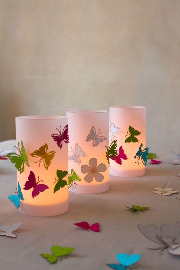Hochzeits Windlicht Schmetterling Windlichter Basteln Sommer Diy Bastelideen Diy Laternen