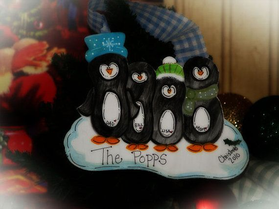 Penguin FAMILY personalized Christmas Gift by CountryCraftHeavenSt
