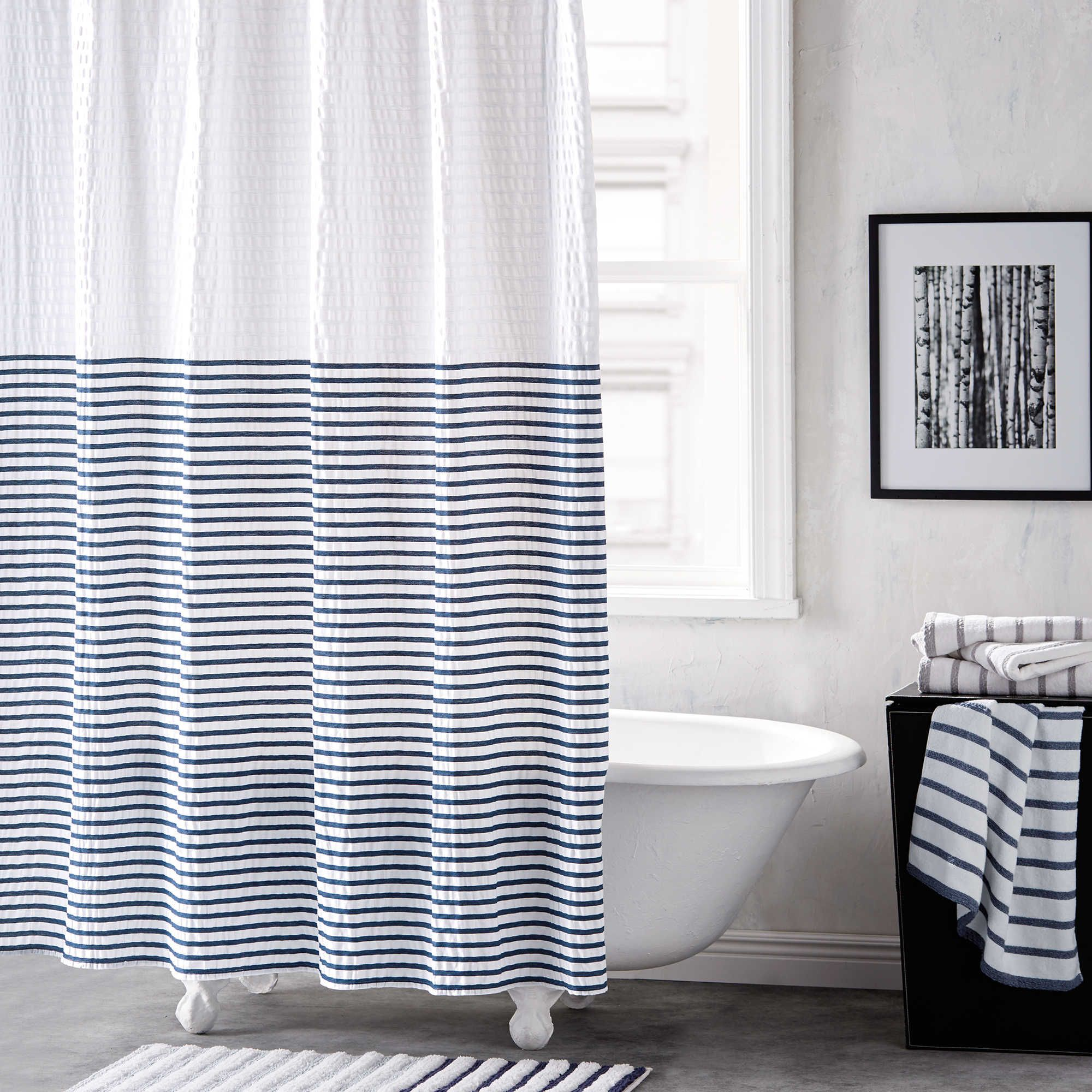 Dkny Parsons Stripe Shower Curtain In Blue Aire Striped Shower