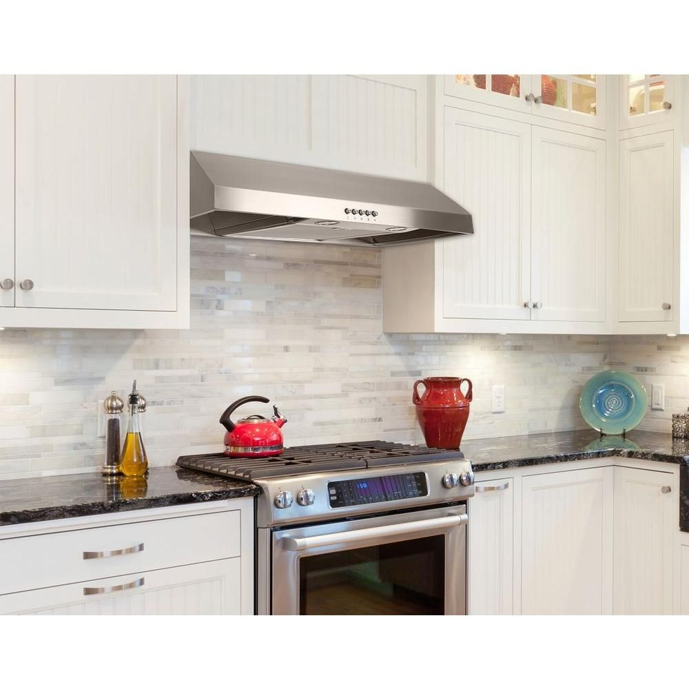 Presenza 30 in. Under Cabinet Range Hood in Stainless Steel with LED Light-QR045 | Under cabinet ...
