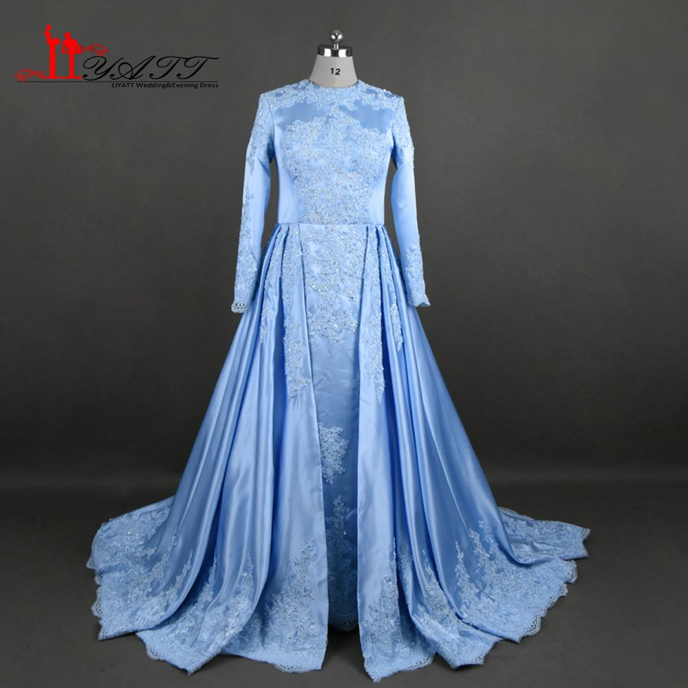 Click to buy ucuc real photo custom made sky blue appliques lace