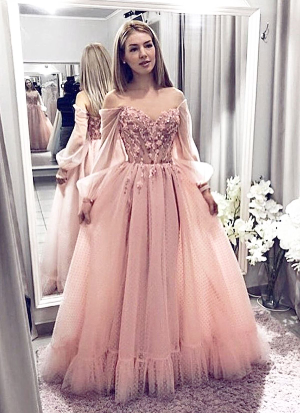 Pink Tulle Lace Long Off Shoulder Senior Prom Dress With Sleeves